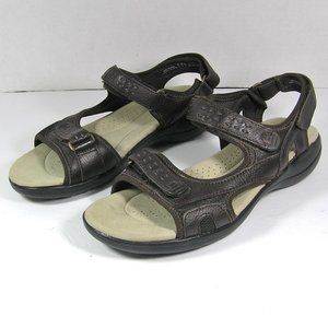 CLARKS Comfort Sports Sandals Brown 7.5 WIDE